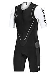 cheap -Nuckily Men's Short Sleeve Triathlon Tri Suit Black / White Stripes Bike Clothing Suit Breathable Sports Spandex Stripes Mountain Bike MTB Road Bike Cycling Clothing Apparel / Micro-elastic