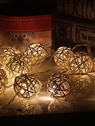 cheap -3.5m 20 LEDs Warm White  Rattan Ball String Lights Holiday Christmas Wedding Party Curtain DecorationAA Batteries Powered 1 set