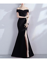 cheap -Mermaid / Trumpet Off Shoulder Floor Length Jersey Sexy / Black Prom / Formal Evening Dress with Split 2020