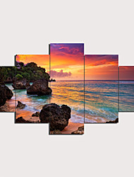 cheap -Print Stretched Canvas Prints - Landscape Modern Traditional Five Panels Art Prints