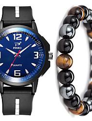 cheap -Men's Sport Watch Quartz Gift Set Silicone Black No Chronograph Cute New Design Analog New Arrival Fashion - Black / White Black / Yellow Black / Blue One Year Battery Life / Large Dial