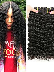 Недорогие -3 Связки Бразильские волосы Крупные кудри человеческие волосы Remy 150 g Человека ткет Волосы Пучок волос Накладки из натуральных волос 8-28 дюймовый Естественный цвет Ткет человеческих волос