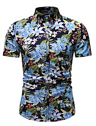 cheap -Men's Shirt Floral Graphic Print Tops Cotton Basic Street chic Classic Collar Rainbow / Short Sleeve / Beach