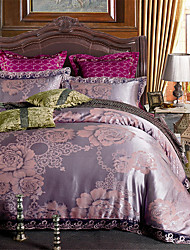 cheap -Duvet Cover Sets Floral / Luxury Cotton Jacquard 4 PieceBedding Sets / 4pcs (1 Duvet Cover, 1 Flat Sheet, 2 Shams)