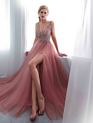 cheap -A-Line Plunging Neck Sweep / Brush Train Chiffon / Tulle Open Back Formal Evening / Wedding Party Dress 2020 with Beading / Crystals