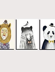 cheap -Print Rolled Canvas Prints Stretched Canvas Prints - Animals Cartoon Classic Modern Three Panels Art Prints