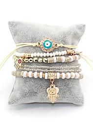 cheap -6pcs Women's Bead Bracelet Vintage Bracelet Earrings / Bracelet Layered Evil Eye Simple Classic Vintage Ethnic Fashion Cord Bracelet Jewelry Black / Rainbow / Red For Daily School Street Holiday
