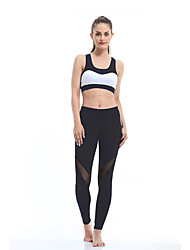 cheap -Women's High Waist Yoga Pants Leggings Butt Lift Breathable Black Dark Navy Mesh Running Fitness Sports Activewear Micro-elastic Slim