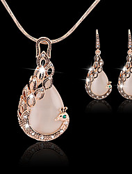 cheap -Women's Drop Earrings Pendant Necklace Hollow Out Peacock Stylish Classic Rhinestone Gold Plated Earrings Jewelry Pink For Wedding Party 1 set