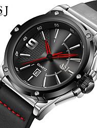 cheap -ASJ Men's Dress Watch Japanese Quartz Genuine Leather Black 100 m Calendar / date / day Analog Fashion - Black Black / White One Year Battery Life