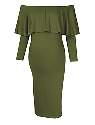 cheap -Women's Knee-length Maternity Green Blue Dress Basic Bodycon Sheath Solid Colored S M