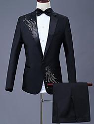 cheap -Men's Plus Size Suits, Geometric Shirt Collar Polyester Black / Red / Purple / Slim