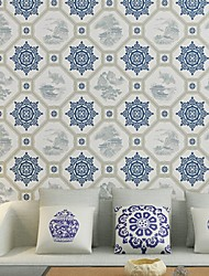 cheap -Wallpaper Plastic & Metal Wall Covering - Adhesive required Geometric