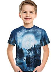 cheap -Kids Toddler Boys' Active Basic Wolf Print 3D Animal Print Short Sleeve Tee Blue
