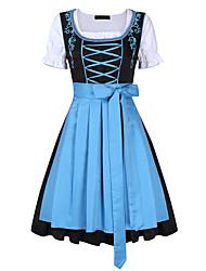 cheap -Oktoberfest Beer Dirndl Trachtenkleider Women's Dress Bavarian Costume Light Blue Purple Green