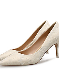 cheap -Women's Wedding Shoes Stiletto Heel Leather Spring Beige / Party & Evening