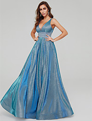 cheap -A-Line Elegant Sparkle & Shine Formal Evening Dress V Neck Sleeveless Floor Length Taffeta Sequined with Pleats Beading Crystal Brooch 2020