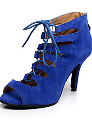 cheap -Women's Dance Shoes Faux Leather Latin Shoes Heel Slim High Heel Customizable Red / Blue / Performance / Practice