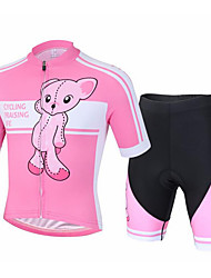cheap -Boys' Girls' Short Sleeve Cycling Jersey with Shorts - Kid's Pink / Black Cartoon Bike Clothing Suit Breathable Moisture Wicking Quick Dry Sports Cartoon Mountain Bike MTB Road Bike Cycling Clothing