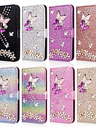 cheap -Phone Case For Apple Full Body Case Leather Wallet Card iPhone 12 Pro Max 11 SE 2020 X XR XS Max 8 7 6 Wallet Card Holder Rhinestone Butterfly Glitter Shine Hard PU Leather