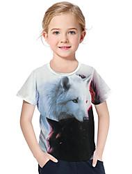 cheap -Kids Toddler Girls' Active Basic Wolf Geometric Print 3D Print Short Sleeve Tee White / Animal