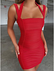 cheap -Women's Basic Elegant Bodycon Dress - Solid Colored Layered Blushing Pink Red S M L XL