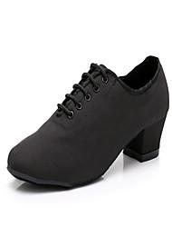 cheap -Women's Dance Shoes Canvas Jazz Shoes Splicing Heel Thick Heel Customizable Black / Performance