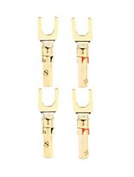 Недорогие -y штекер 45 градусов позолоченный разъем для провода динамика 4 шт. (2 черных 2 красных)