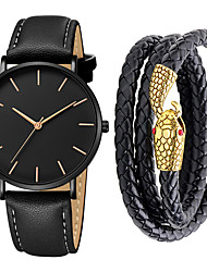 cheap -Men's Dress Watch Quartz Gift Set Leather Black / Brown No Chronograph Cute Creative Analog Minimalist New Arrival - Golden+Black Rose Gold Black / Rose Gold One Year Battery Life