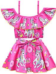 abordables -Enfants Bébé Fille Actif Le style mignon Unicorn Imprimé Noeud Manches courtes Maillot de Bain Violet