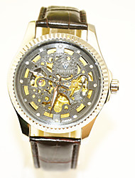 Недорогие -Муж. Механические часы Механические, с ручным заводом Кожа Черный Повседневные часы Крупный циферблат Аналоговый На каждый день Скелет - Черный