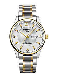 cheap -WLISTH Men's Steel Band Watches Analog Quartz Casual Calendar / date / day Noctilucent
