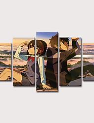 cheap -Print Stretched Canvas Prints - People Cartoon Classic Modern Five Panels Art Prints