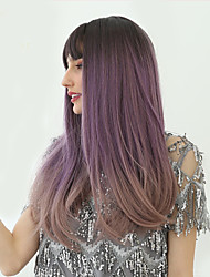 cheap -Synthetic Wig kinky Straight Natural Straight Bob Neat Bang With Bangs Wig Long Brown / White Black / Purple Synthetic Hair 24 inch Women's Synthetic Lovely Comfortable Black Purple HAIR CUBE
