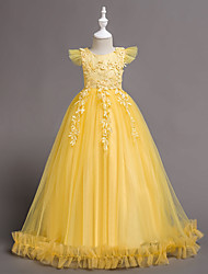 cheap -Princess Floor Length Wedding / Birthday / Pageant Flower Girl Dresses - Lace / Tulle / Polyester Short Sleeve Jewel Neck with Bow(s) / Embroidery / Appliques