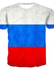 cheap -Men's Plus Size Color Block 3D Print T-shirt Street chic Punk & Gothic Daily Wear Bar Round Neck White / Short Sleeve