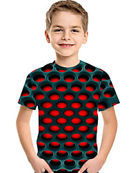 cheap -Kids Toddler Boys' Active Basic Geometric Print 3D Print Short Sleeve Tee Red