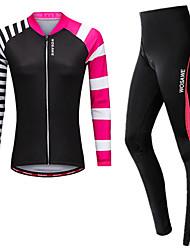 cheap -WOSAWE Women's Long Sleeve Cycling Jersey with Tights - Fuchsia Plus Size Bike Jersey Tights 3D Pad Reflective Strips Back Pocket Sports Spandex Horizontal Strips Mountain Bike MTB Road Bike Cycling