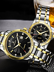cheap -Couple's Steel Band Watches Quartz Stainless Steel Silver / Gold 30 m Water Resistant / Waterproof Calendar / date / day Casual Watch Analog Luxury Fashion - Gold White Black One Year Battery Life