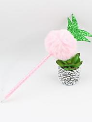 abordables -ananas en plastique boule de cheveux crayon bleu plomb bille artisanat cadeaux pour les enfants apprenant la papeterie de bureau