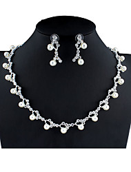 cheap -Women's White Bridal Jewelry Sets Link / Chain Floral Theme Botanical Simple Unique Design Fashion Imitation Pearl Rhinestone Earrings Jewelry Silver For Christmas Wedding Party Engagement Gift 1 set