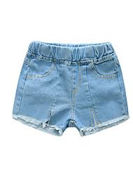 cheap -Kids Girls' Basic Solid Colored Tassel Split Cotton Jeans Blue