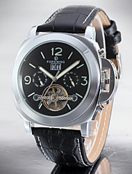 cheap -Men's Skeleton Watch Quartz Leather Black Calendar / date / day Dual Time Zones Moon Phase Analog Classic Minimalist - Black / Silver White / Silver