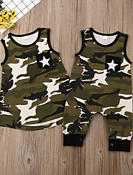 cheap -Family Look Active Color Block Print Sleeveless Above Knee Cotton Dress Army Green