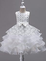 cheap -Princess Midi Wedding / Birthday / Pageant Flower Girl Dresses - Organza / Satin Sleeveless Jewel Neck with Bow(s) / Embroidery / Crystals / Rhinestones