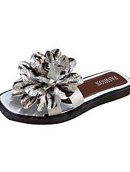cheap -Women's Slippers & Flip-Flops Flat Heel Satin Flower PU Casual Summer Black / White