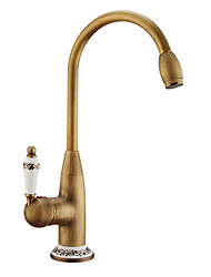 cheap -Kitchen faucet - Single Handle One Hole Antique Copper / Electroplated Standard Spout / Tall / High Arc Centerset Contemporary / Antique Kitchen Taps