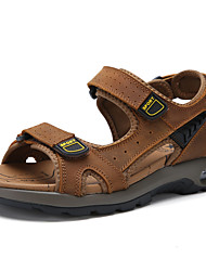 cheap -Men's Comfort Shoes Cowhide Fall / Spring & Summer Classic / Casual Sandals Breathable Black / Brown / Outdoor