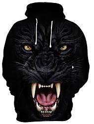 cheap -Men's Hoodie 3D Cartoon Skull Hooded Casual Basic Hoodies Sweatshirts  Black