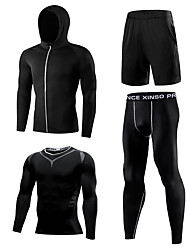 cheap -1bests Men's Front Zipper Elastane Tracksuit 4pcs Running Fitness Gym Workout Lightweight Breathable Quick Dry Sportswear Plus Size Clothing Suit Long Sleeve Activewear High Elasticity Slim